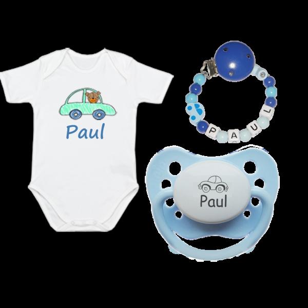 Baby T-Shirt Kleiner Autofan mit Wunschnamen + Namensschnuller + Schnullerkette mit Namen (Junge)