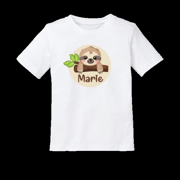 Kinder T-Shirt mit Namen und Faultier bedruckt (Mädchen / Junge) 2-8 Jahre by Schnullireich