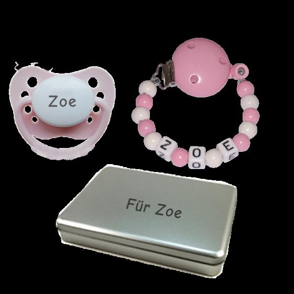Schnullireich Personalisierbare Geschenkbox mit Namen + Gutscheine (Mädchen)