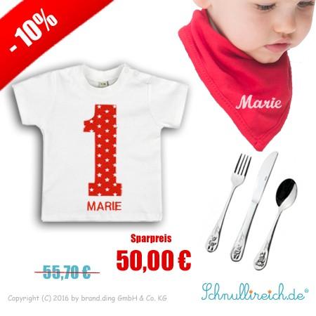 """Baby T-Shirt mit Namen """"Nr. 1"""" + Halstuch mit Namen + Kinderbesteck mit Namen"""