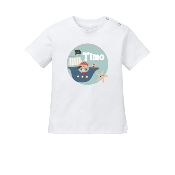 Baby Shirt mit Namen + Pirat bedrucken (T-Shirt + Langarm)