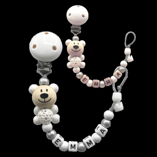 Schnullireich Schnullerkette mit Namen Taufe Häkelbär Weiß / Silber (Junge / Mädchen)