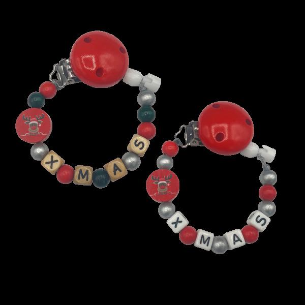 Schnullerkette mit Namen Weihnachten Holzbuchstaben / Kudnststoffbuchstaben (Junge / Mädchen)