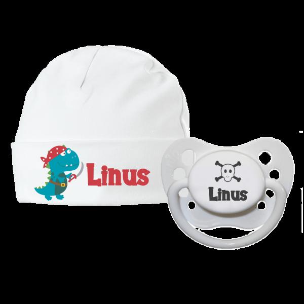 Babymütze mit Namen Piraten-Dino + 1 x Schnuller mit Name (Junge)