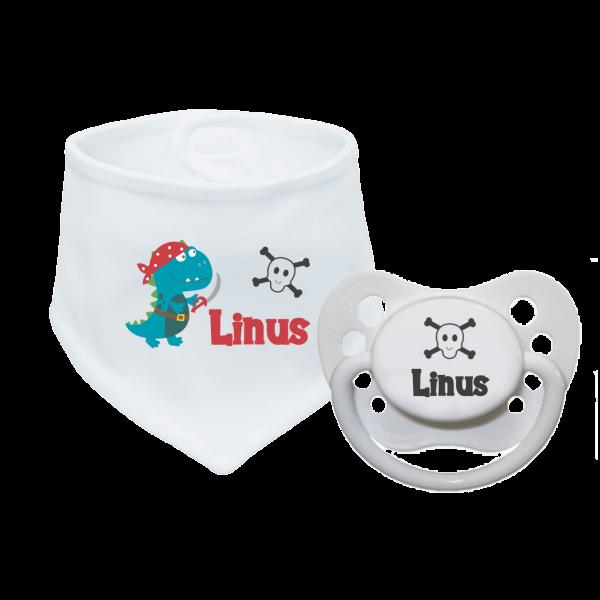 Babyhalstuch mit Namen bedruckt und Schnuller mit Namen im Set - Piraten-Dino (Junge) Geburtsgeschenk