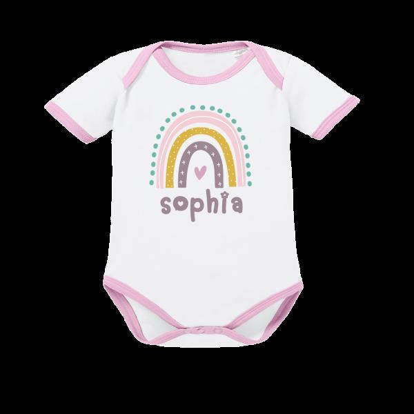Baby Body mit Namen + Regenbogen bedruckt (Mädchen) Rosa von Schnullireich