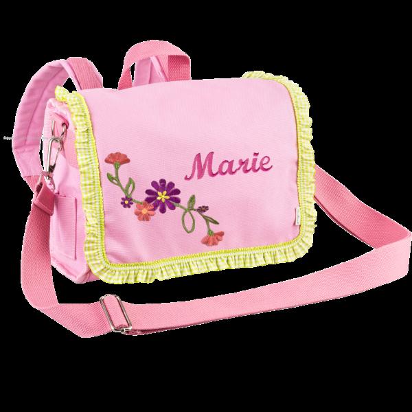 Personalisierbarer Kindergartenrucksack mit Namen bestickt Blume (Rosa) Mädchen
