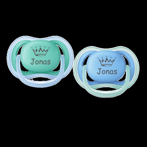 AVENT Schnuller mit Namen Jonas + Wunschmotiv Krone Gr. 2 6-18 Monate Junge