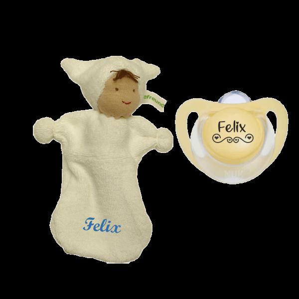 Geschenk zur Geburt / Taufe: Schnullireich Schmusepuppe mit Namen bedruckt Junge+ NUK Schnuller mit Namen LOVE by Schnulllireich