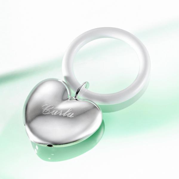 Personalsierbare Babyrassel 925er Silber mit Namen graviert Taufe / Geburt Geschenkl
