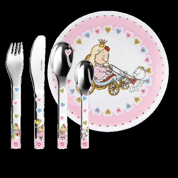 Puresigns Kinderbesteck Prinzessin Nelia mit Gravur des Namens + Kinderteller (5-Teilig)