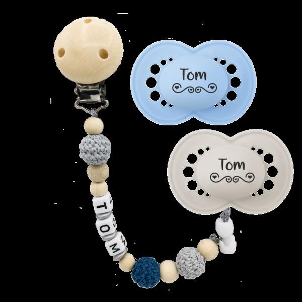 MAM Schnuller Elements mit Namen + Schnullerkette mit Namen (Junge) Gr. 2 ab 6 Monate