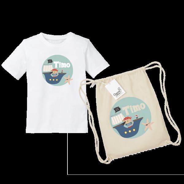 Kinder T-Shirt mit Namen / Turnbeutel mit Namen Pirat bedruckt (Junge) 2-8 Jahre by Schnullireich