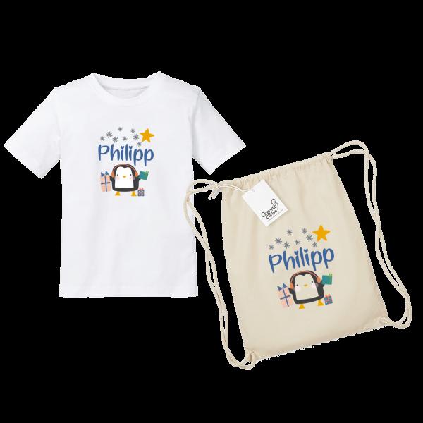 Kinder T-Shirt mit Namen + Turnbeutel mit Namen Winter Pinguin (Junge)