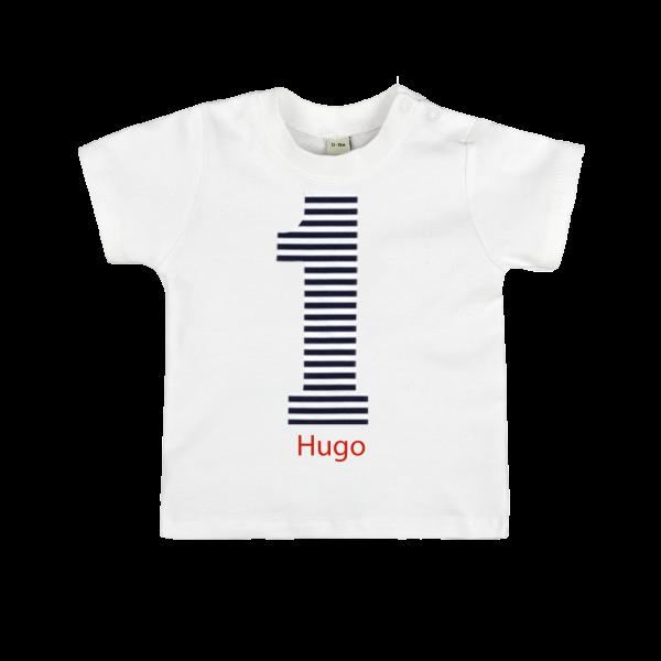 Baby T-Shirt mit Namen No.1 Dunkelblau (Junge / Mädchen)