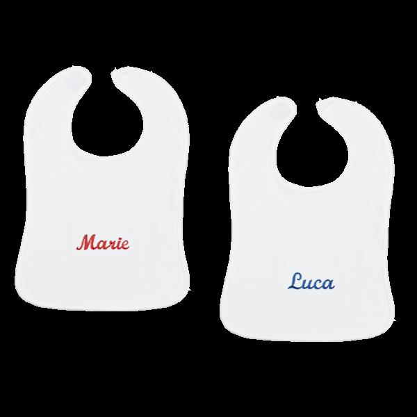 Personalisiertes Baby Lätzchen mit Namen Weiß Junge Mädchen