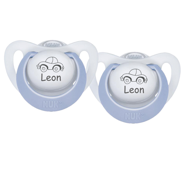 NUK Schnuller mit Namen Leon + Wunschmotiv Auto Gr. 1 0-6 Monate / Gr. 2 6-18 Monate Junge