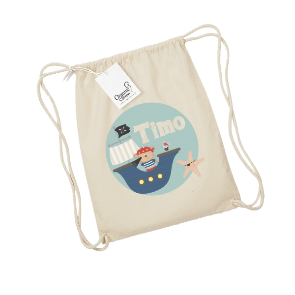 Personalisierbarer Turnbeutel / Kinderbeutel mit Namen bedruckt Pirat Junge