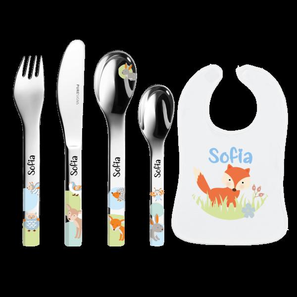 Geburtsgeschenk Kinderbesteck mit Gravur (Mädchen / Junge) Puresigns Woody Waldtiere 4-Teilig + Baby Lätzchen mit Namen bedruckt Fuchs by Schnullireich