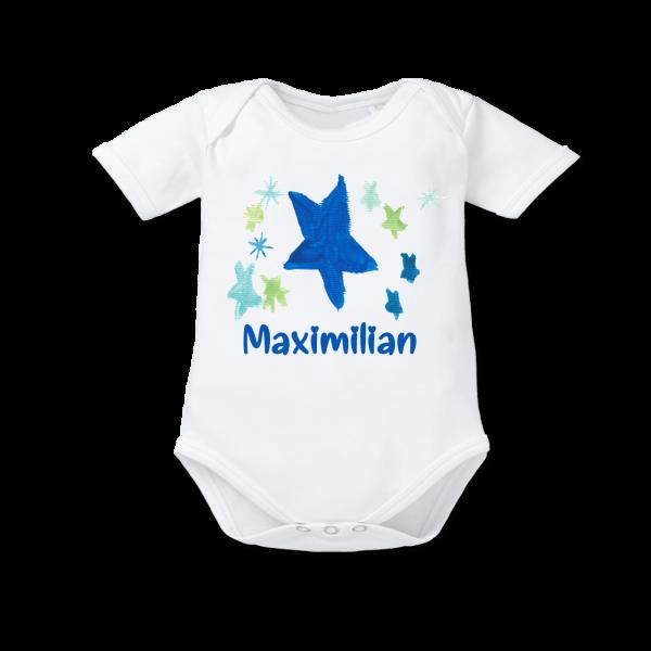 Baby Body mit Namen + Stern Kurzarm Junge Weiß von Schnullireich