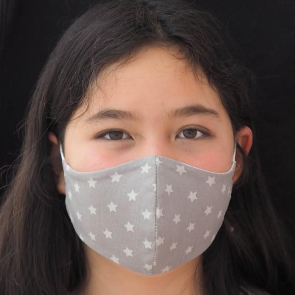 Schnullireich Kleine Helden Maske: Behelfs-Mundschutz für Teenie (Junge / Mädchen / Grau) Personalisierbar