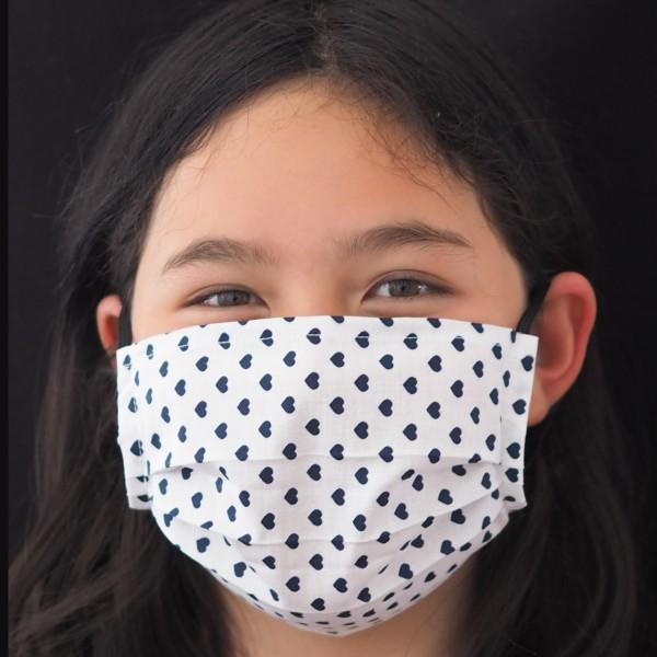 Sommer Teenie / Erwachsene Behelfs-Mundschutz Weiß Herz