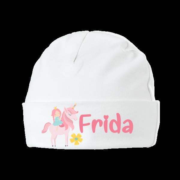 Babymütze mit Namen bedruckt - Einhorn Mädchen Geschenk zur Geburt