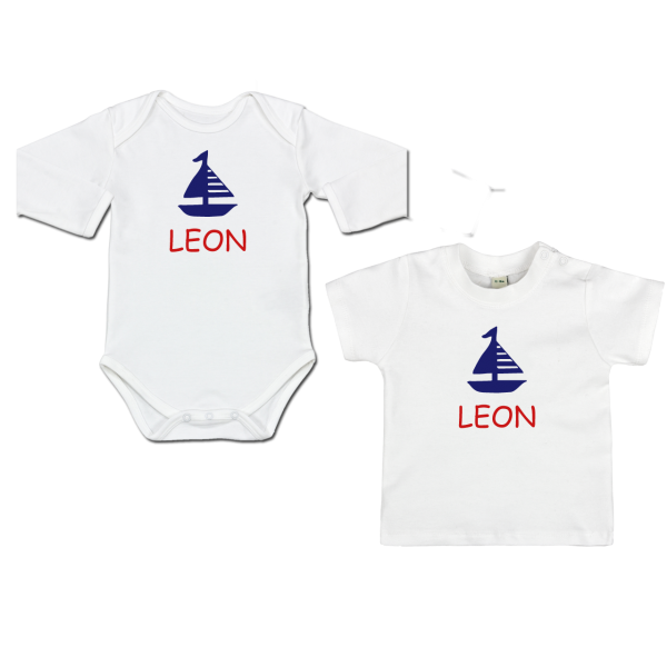 Maritimes Baby Shirt / Babybody mit Namen und Boot (Junge / Mädchen)