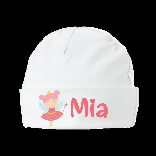 Babymütze mit Namen bedruckt - Kleine Fee / Prinzessin Mädchen