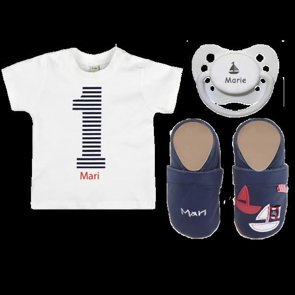 Krabbelschuhe mit Namen + Namensschnuller + Baby T-Shirt mit Wunschnamen (Mädchen / Junge)