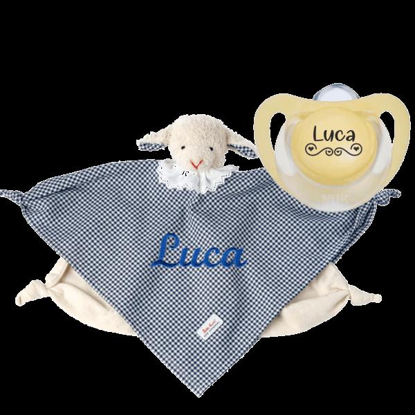 Geschenk zur Geburt / Taufe: Käthe Kruse Schmusetuch mit Namen bestickt Lamm Vichy Junge + NUK Schnuller mit Namen LOVE by Schnulllireich