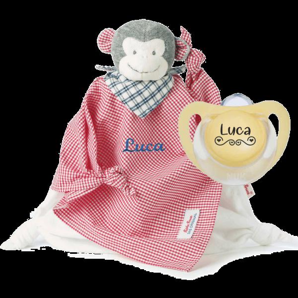 Geschenk zur Geburt / Taufe: Käthe Kruse Schmusetuch mit Namen bestickt Affe Carlo Junge + NUK Schnuller mit Namen LOVE by Schnulllireich