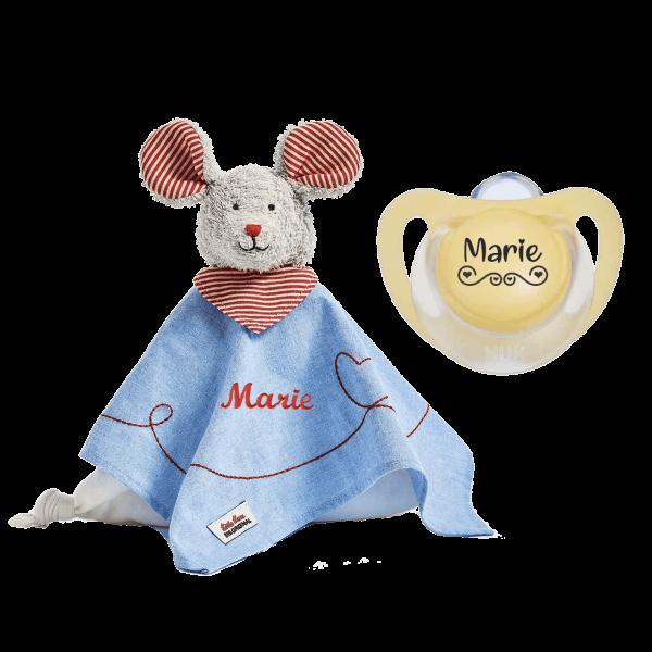 Geschenk zur Geburt / Taufe: Käthe Kruse Schmusetuch Maus mit Namen bestickt + NUK Schnuller mit Namen LOVE by Schnulllireich