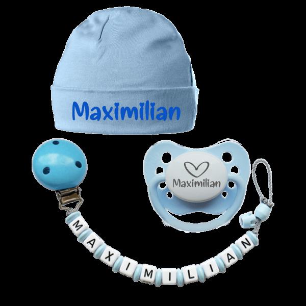 Bestseller Junge (Geschenk zur Geburt mit Namen des Babys): Schnuller mit Namen + Schnullerkette mit Namen + Babymütze mit Namen