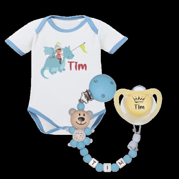 Geschenk zur Geburt: Baby Body mit Namen (Kleiner Prinz) + NUK Namensschnuller + Schnullerkette mit Namen (Junge)