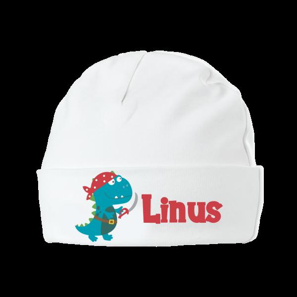 Babymütze mit Namen Piraten-Dino (Junge)