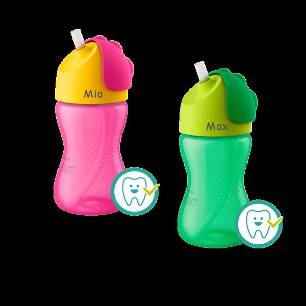Personalisierbarer Philips AVENT Strohhalmbecher / Trinkflasche mit Namen graviert Junge / Mädchen (300 ml) ab 12 Monate