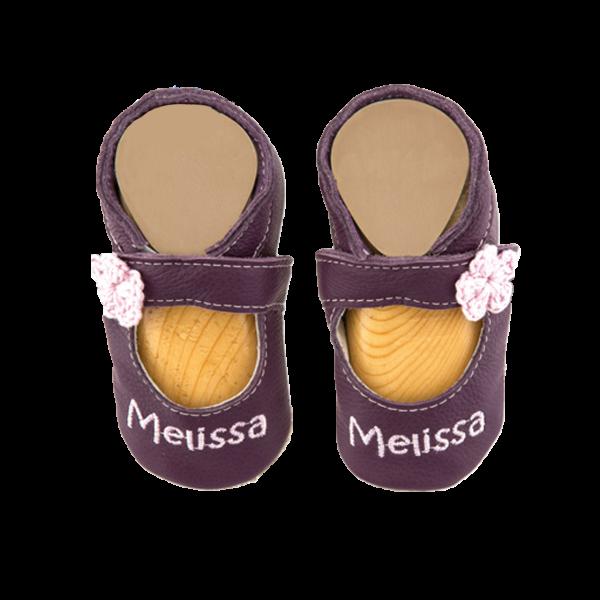 Krabbelschuhe mit Namen bestickt Sandale (Mädchen) Lila