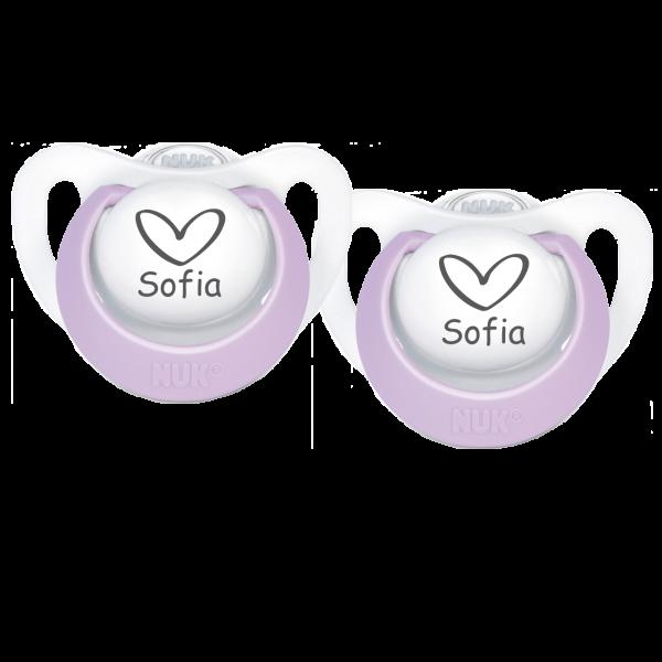 NUK Schnuller mit Namen Sofia + Wunschmotiv Herz Gr. 2 6-18 Monate Mädchen