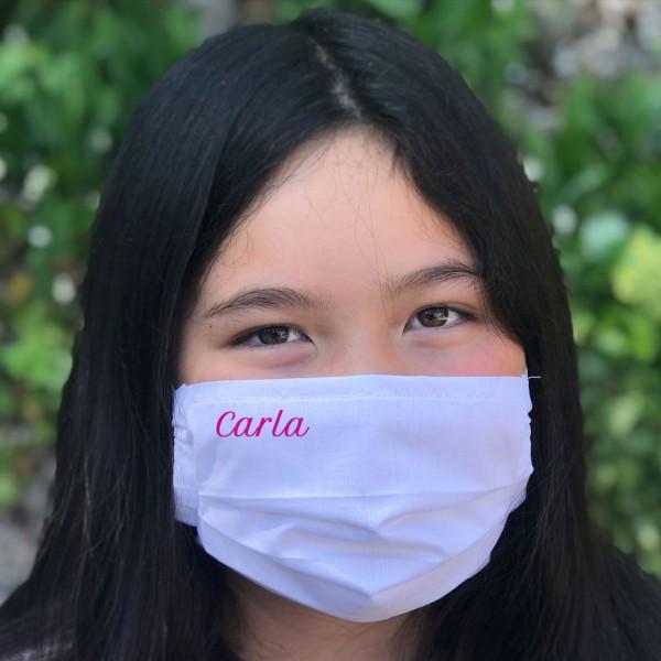 Behelfs-Mund- und Nasenmaske / -Mundschutz mit Namen (pink) für Jugendliche & Erwachsene
