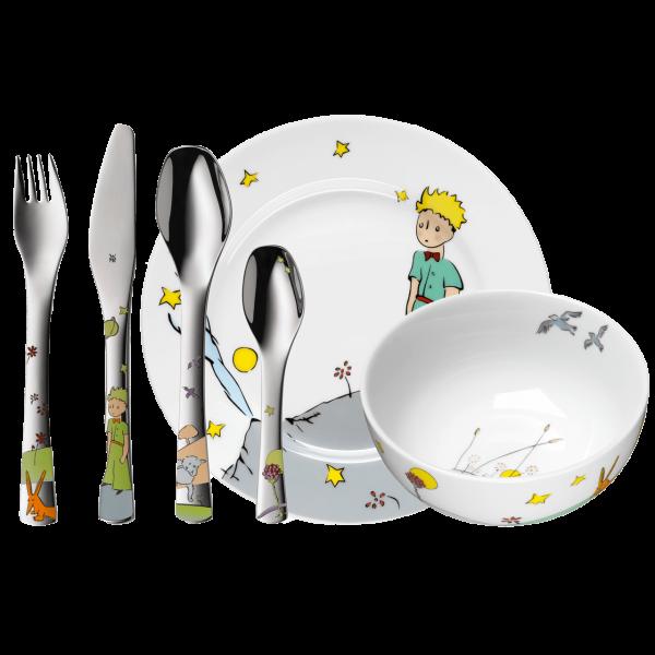 WMF Geschenkset (Kinderbesteck mit Gravur + Kindergeschirr) 6-Teilig Kleiner Prinz