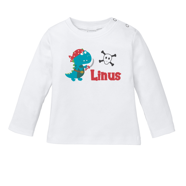 Baby Shirt mit Namen + Piraten-Dino bedrucken (T-Shirt + Langarm)