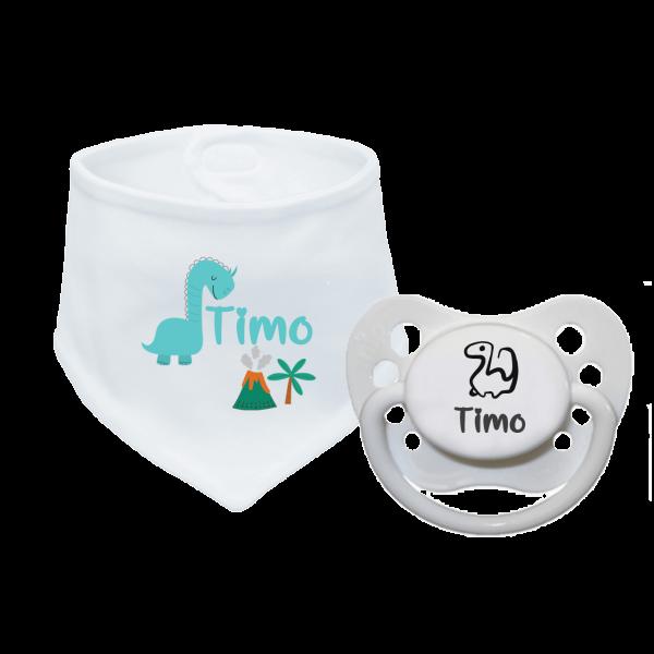 Babyhalstuch mit Namen bedruckt und Schnuller mit Namen im Set - Dino (Junge) Geburtsgeschenk