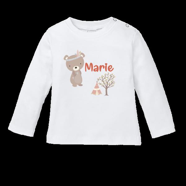 Baby Shirt mit Namen + Bär bedrucken (T-Shirt + Langarm)