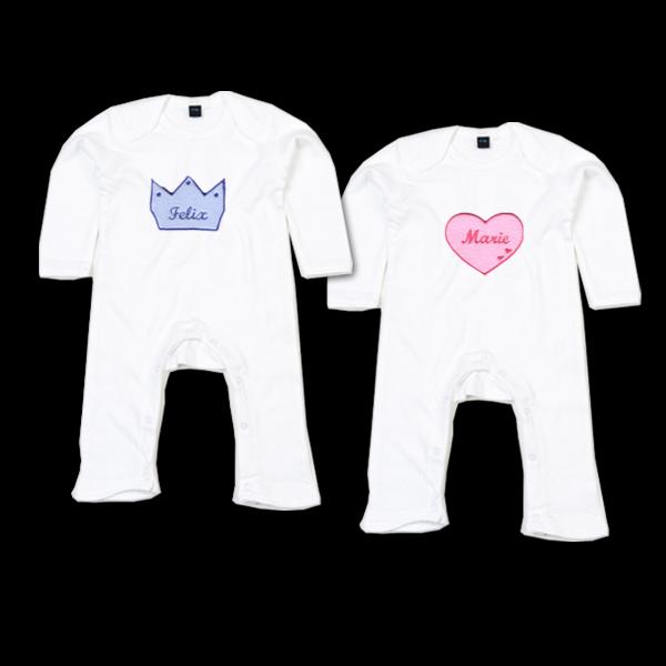 Baby Strampler mit Namen Herz oder Krone (Junge / Mädchen)