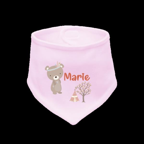 Baby Halstuch mit Namen bedruckt - Bär (Mädchen) Geschenk zur Geburt