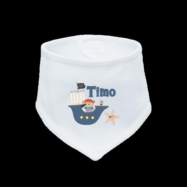 Dreieckstücher / Baby Halstuch mit Namen (Klettverschluss) + Pirat Junge (Weiß)
