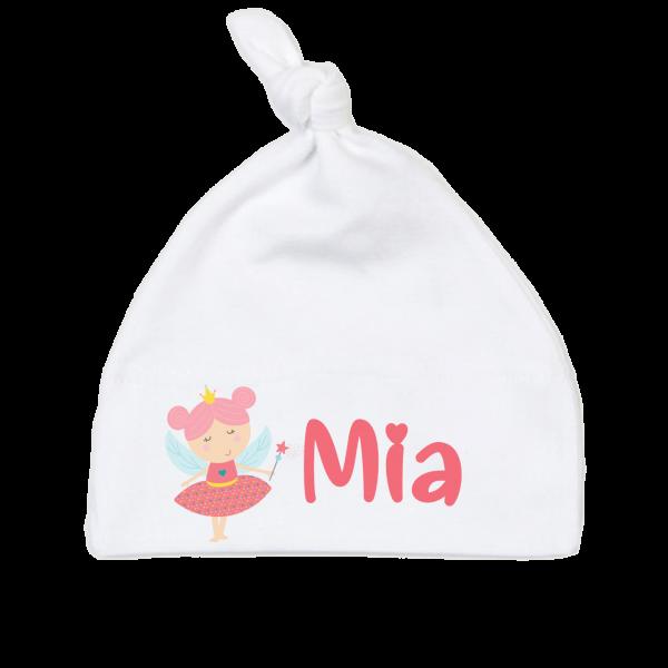 Babymützen mit Namen bedruckt - Kleine Fee / Prinzessin Mädchen Geburtsgeschenk 6-18 Monate