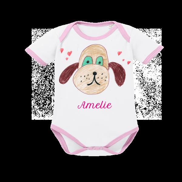 Baby Body mit Namen Mydog Mädchen Kurzarm rosa