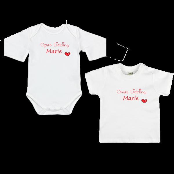 """Baby Body oder T-Shirt mit Namen + Spruch """"Mamas Liebling"""" (Mädchen)"""